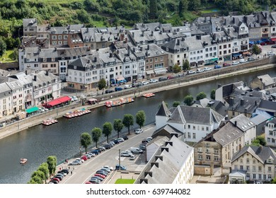 Aerial view medieval city Bouillon along river Semois in Belgian Ardennes