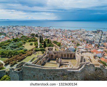 Aerial view of a medieval fortress, panorama of the city and the sea. Patras, Peloponnese, Greece
