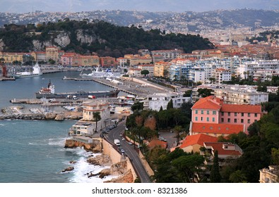 Aerial view of the Mediterranean city of Nice in French Riviera.