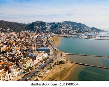 Aerial view of Mediterranean coastal town of Roses in Catalonia, Spain