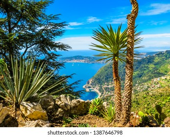 Aerial view of the Mediterranean coastline from the top of the Eze village. Provence, France