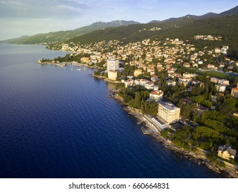 Aerial View of Mediterranean sea in Opatija, Croatia