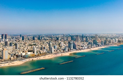 Aerial  view of Mediterranean Seashore of Tel Aviv, Israel.