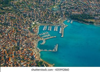Aerial view of a Mediterranean town, Vodice