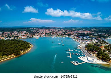 Aerial view from Medulin town and Medulin marina under beautiful blue sky with nice white clouds aerial view, Croatia