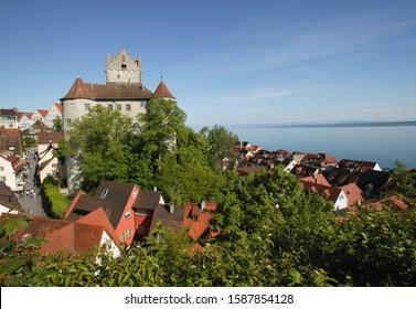 Aerial view of Meersburg Castle, Meersburg, Lake Constance, Baden-Wuerttemberg, Germany