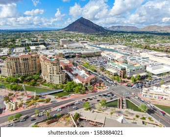 Aerial view of mega shopping mall in Scottsdale, desert city in Arizona east of state capital Phoenix. Downtown's Old Town Scottsdale. Phoneix, USA November, 25th, 2019