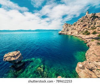 Aerial view of Melagavi lighthouse in the Corinth Gulf. Picturesque spring seascape in the Greece, Europe. Beauty of nature concept background. Artistic style post processed photo.