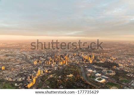 Aerial view of Melbourne, Australia, taken from a hot air balloon at dawn.