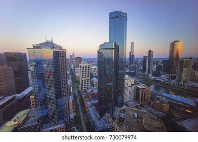 Aerial view of Melbourne city CDB skyline during sunset