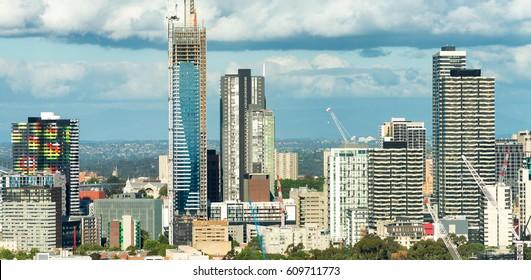 Aerial view of Melbourne skyline, Australia.
