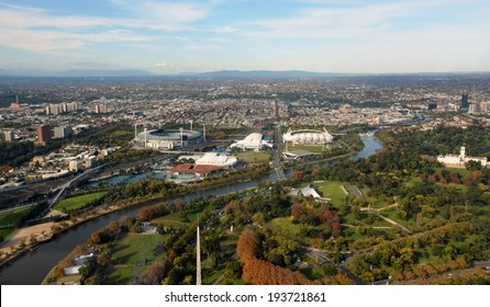 Aerial View of Melbourne's Eastern Suburbs including MCG, Rod Laver Arena and Yarra River.