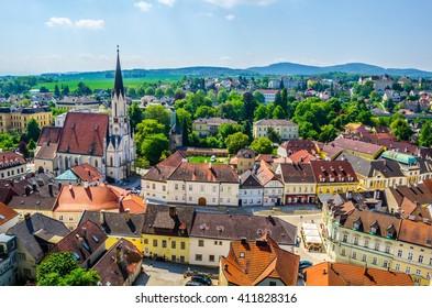 Aerial view of Melk town in Austria