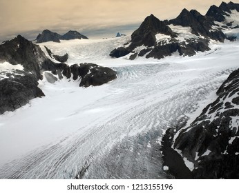 Aerial view of the Mendenhall Glacier in the Juneau Icefields near Juneau in Alaska, USA.