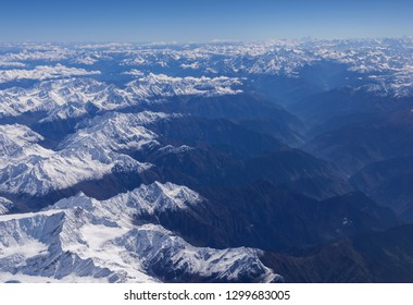 aerial view of merging of Snow clad Greater and lesser Himalaya in India