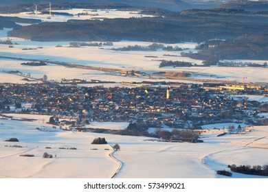 Aerial View of Merklingen, a town on the Swabian Alps (Schwäbische Alb), in South of Germany (in Winter) and Autobahn A8 road works in background