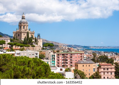 Aerial view of Messina city, Sicily island, Italy