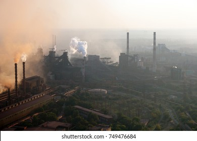 Aerial view of metallurgical plants in Zaporozhye, Ukraine