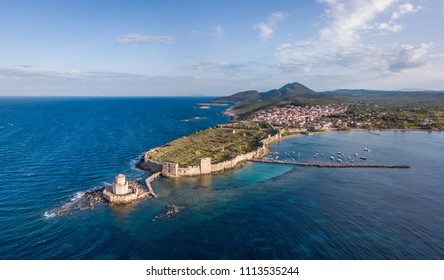 Aerial view of the Methoni castle and the Bourtzi tower on the southern cape of Peloponnese