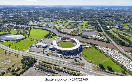 Aerial view of Metricon Stadium on June 16, 2013 on Gold Coast, Australia.