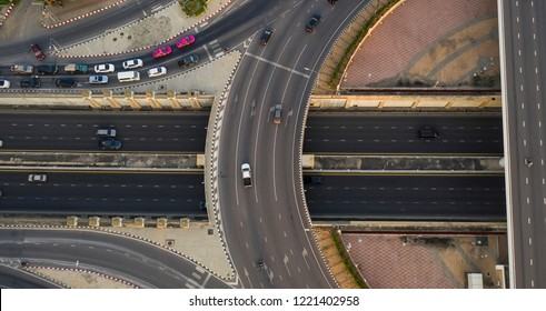 Aerial view of metropolitan freeway interchange which Expressway, Highway, Motorway, Tollway, Bangkok, Thailand.
