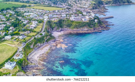Aerial View of Mevagissey, holiday town in Cornwall - UK