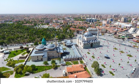 Aerial view Mevlana musem and great view of Mevlana Konya City On July 12, 2017 In, Turkey
