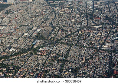 Aerial view of mexico city from airliner.