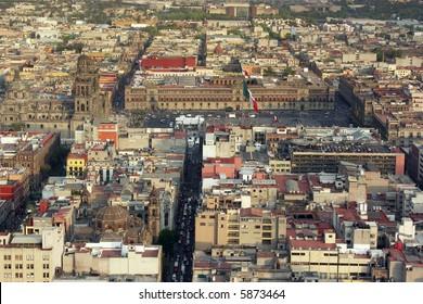 Aerial view of Mexico City centre