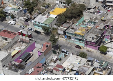 Aerial view of Mexico City with closeup of typical mexican urban living district