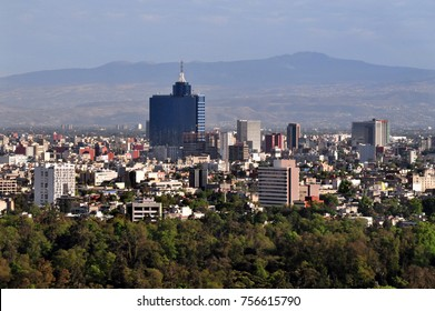 Aerial view of Mexico City downtown skyline.  Mexico City is one of the most important financial centers in North America.
