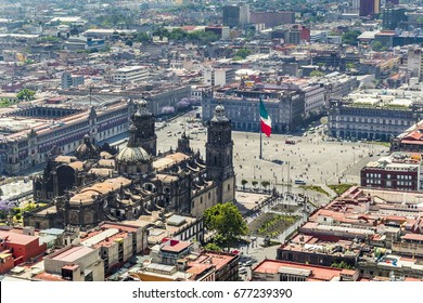 aerial view of Mexico City with zócalo, flag and most important buildings of mexico's government