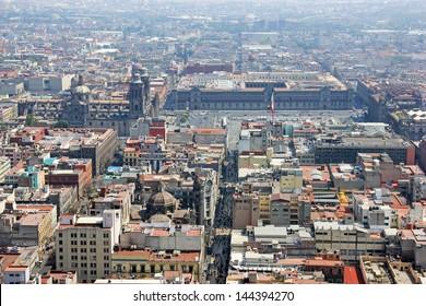 Aerial view of Mexico city and he Palacio de Bellas Artes, pronounced artistic monument by UNESCO in 1987