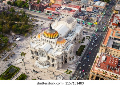 Aerial view of mexico city palace of fine arts - Bellas Artes.