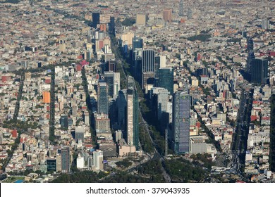 Aerial view of Mexico City. An aerial view of Paseo de la Reforma and  skyscraperes  in Mexico City.