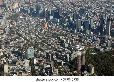 Aerial view of Mexico City. An aerial view of Paseo de la Reforma in Mexico City.