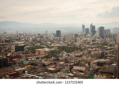 Aerial view of mexico city skyline.