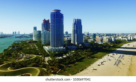 Aerial view of Miami Beach, Florida.