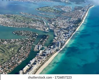 Aerial View of Miami Beach Florida