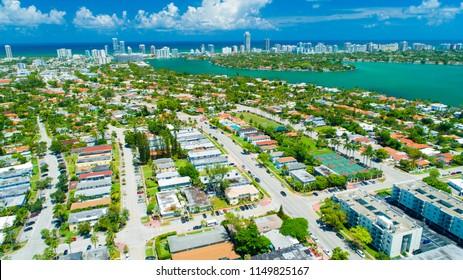 Aerial view of Miami Beach, Normandy Island. Florida. USA.