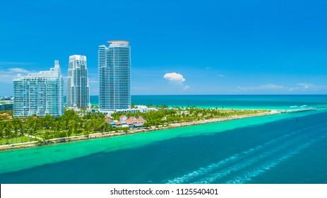 Aerial view of Miami Beach, South Beach, Florida. USA.