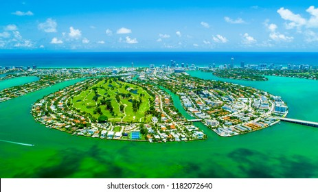 Aerial view of Miami Beach, South Beach, Normandy isles. Florida, USA.