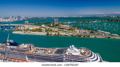 Aerial view of Miami Port and city skyline, Florida.