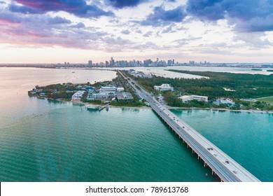 Aerial view of Miami Rickenbacker Causeway at sunset, Florida.