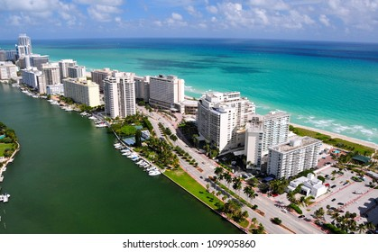Aerial view of Miami South Beach, Florida, USA