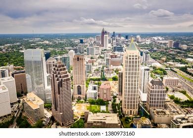Aerial view Midtown Atlanta Skyline