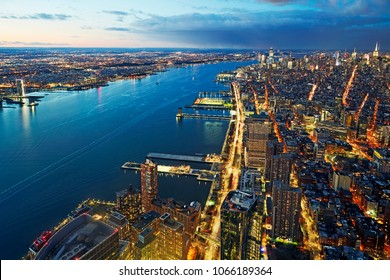 Aerial view of Midtown Manhattan and the Hudson River and the skyline of Newark