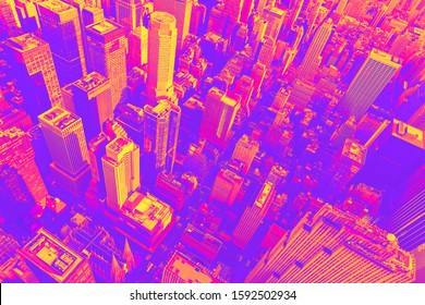 Aerial view of Midtown Manhattan at sunset synth wave style