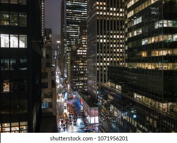 Aerial view of Midtown offices in Manhattan, New York City at night.