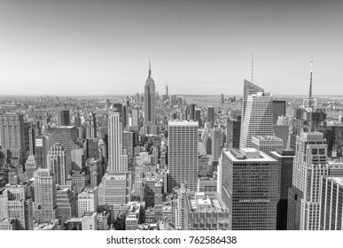 Aerial view of Midtown skyscrapers, New York City.